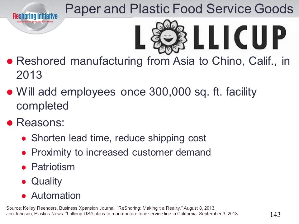 Paper and Plastic Food Service Goods