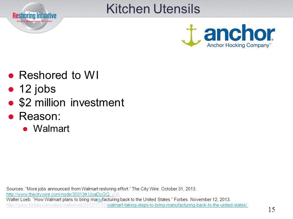 Kitchen Utensils Reshored to WI 12 jobs $2 million investment Reason:
