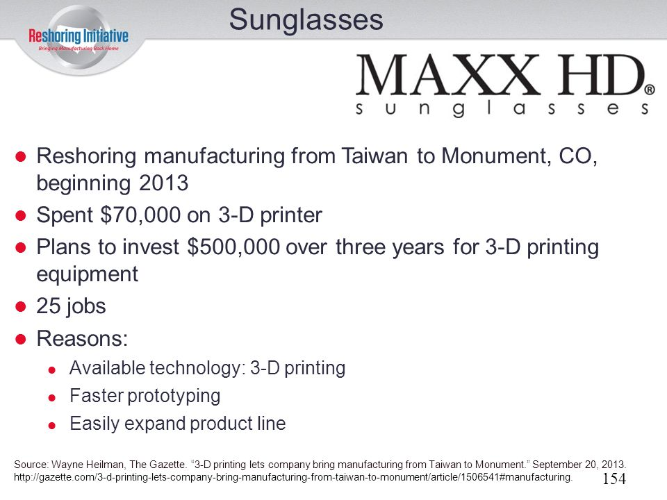 Sunglasses Reshoring manufacturing from Taiwan to Monument, CO, beginning 2013. Spent $70,000 on 3-D printer.