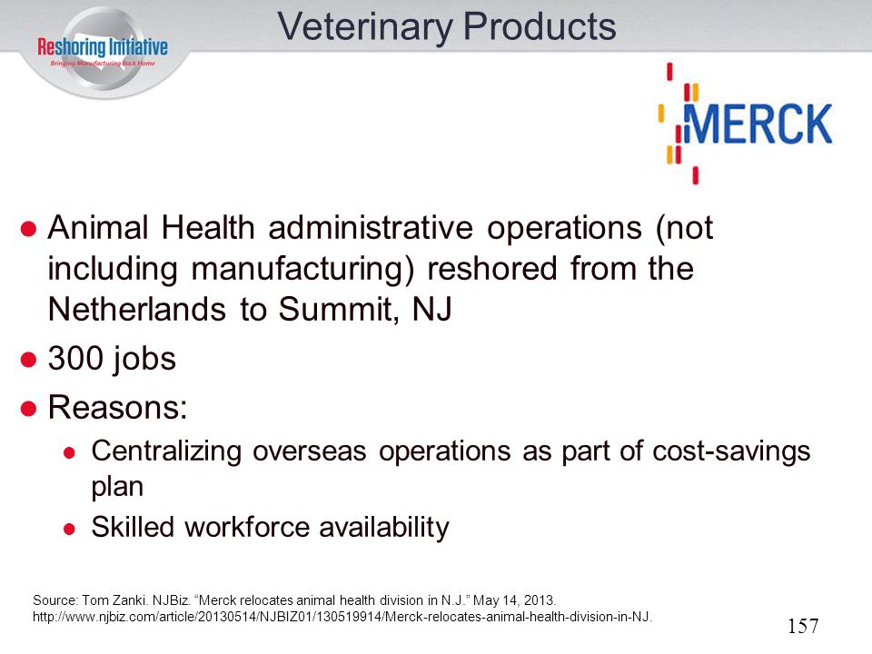 Veterinary Products Animal Health administrative operations (not including manufacturing) reshored from the Netherlands to Summit, NJ.