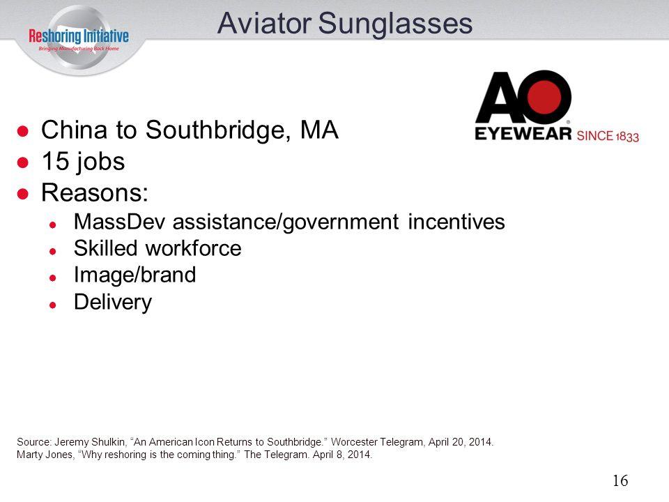 Aviator Sunglasses China to Southbridge, MA 15 jobs Reasons: