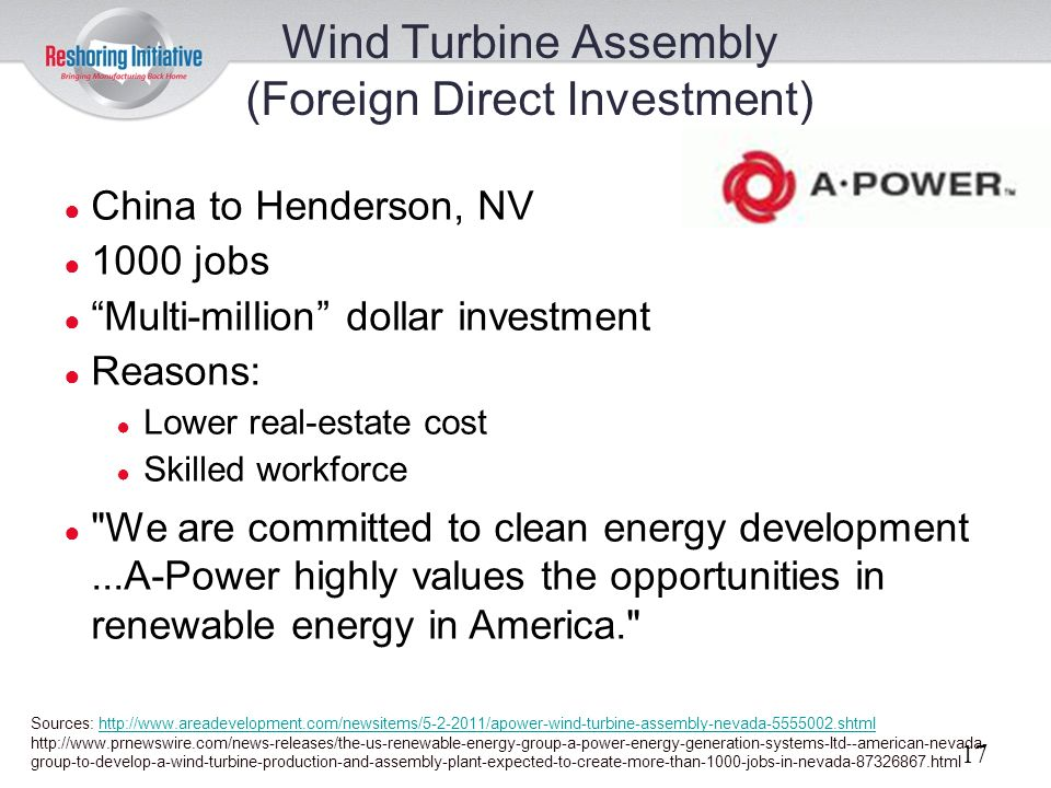 Wind Turbine Assembly (Foreign Direct Investment)