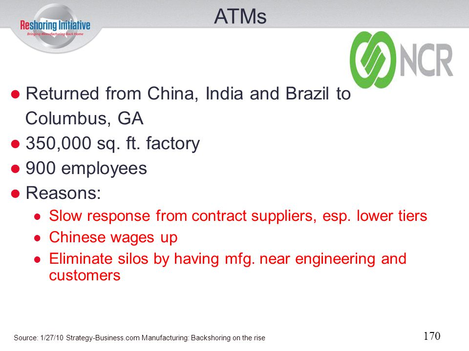 ATMs Returned from China, India and Brazil to Columbus, GA