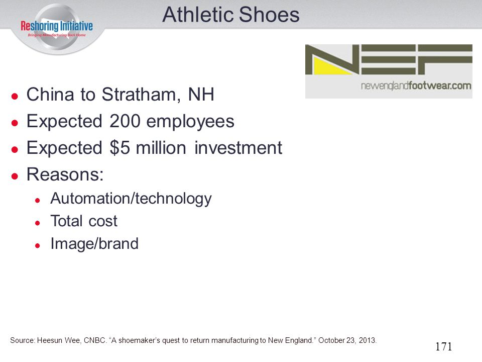 Athletic Shoes China to Stratham, NH Expected 200 employees