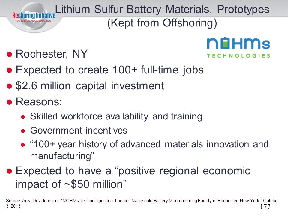 Lithium Sulfur Battery Materials, Prototypes (Kept from Offshoring)