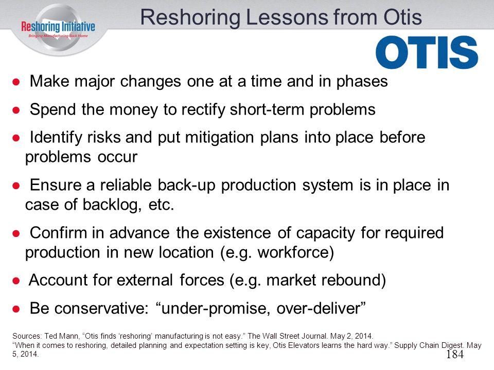 Reshoring Lessons from Otis