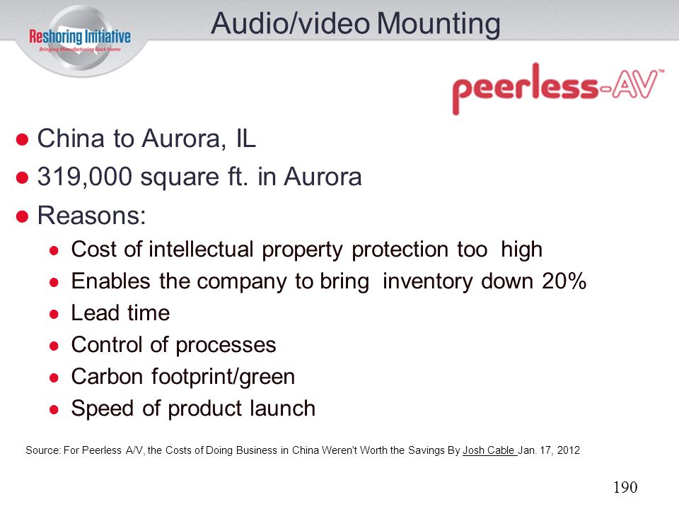 Audio/video Mounting China to Aurora, IL 319,000 square ft. in Aurora