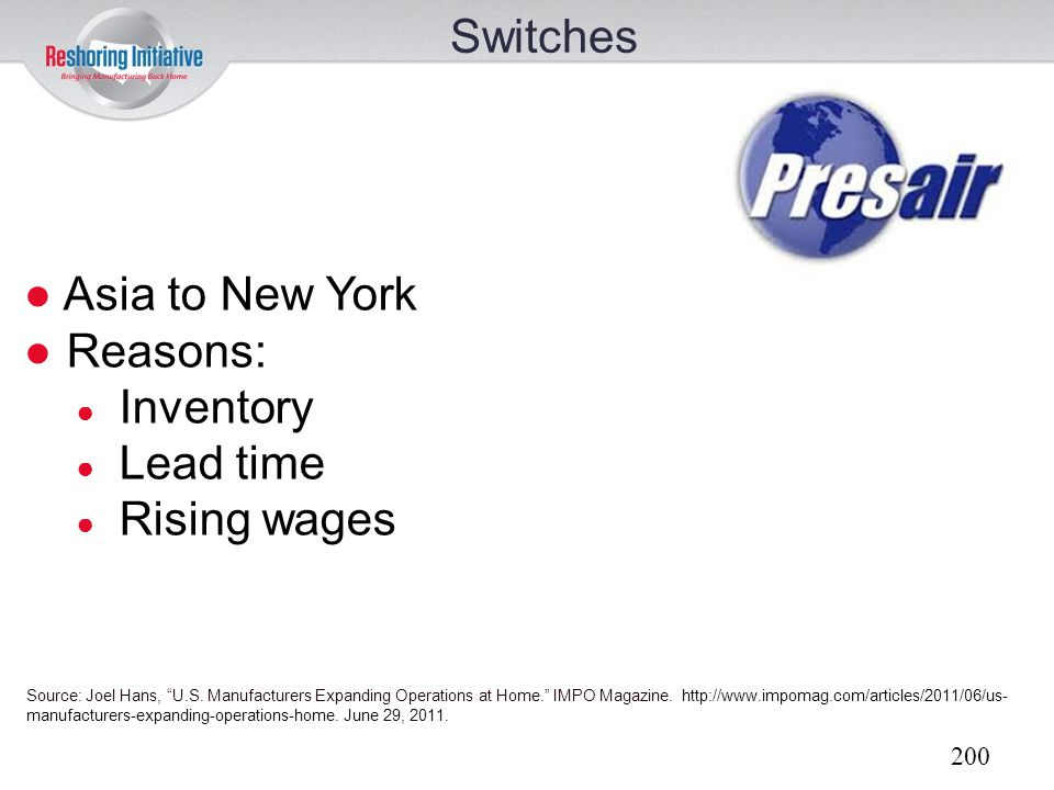 Switches Asia to New York Reasons: Inventory Lead time Rising wages