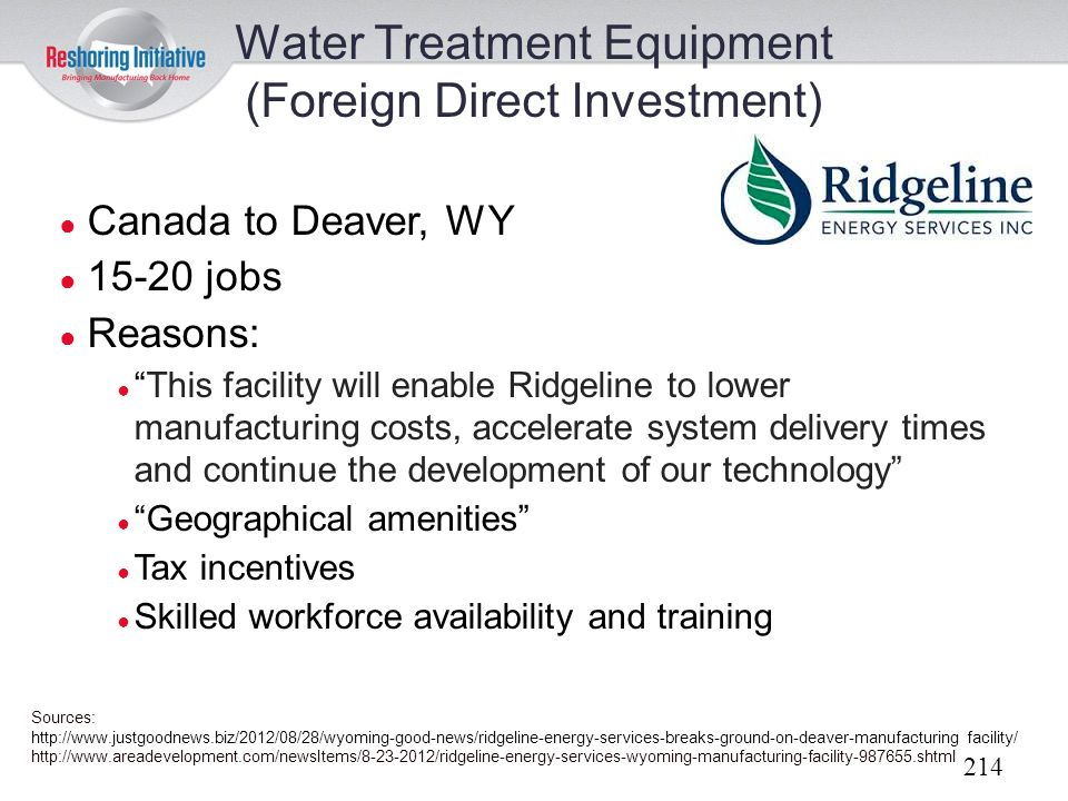 Water Treatment Equipment (Foreign Direct Investment)