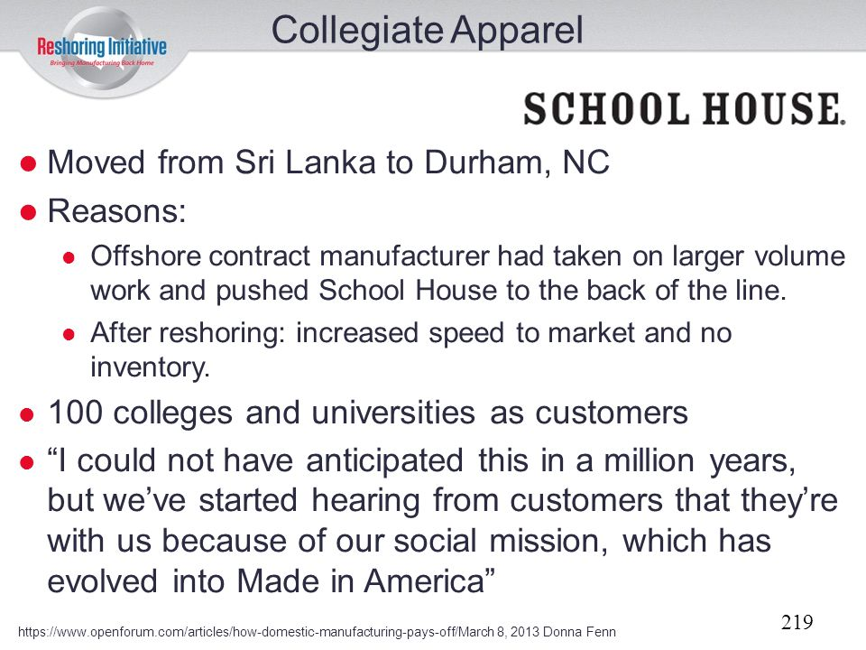 Collegiate Apparel Moved from Sri Lanka to Durham, NC Reasons:
