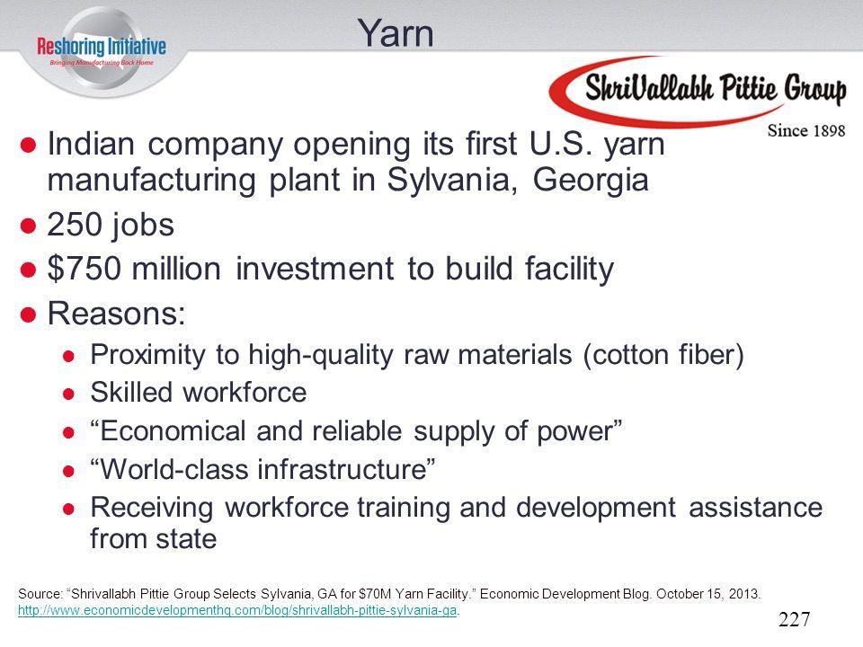Yarn Indian company opening its first U.S. yarn manufacturing plant in Sylvania, Georgia. 250 jobs.