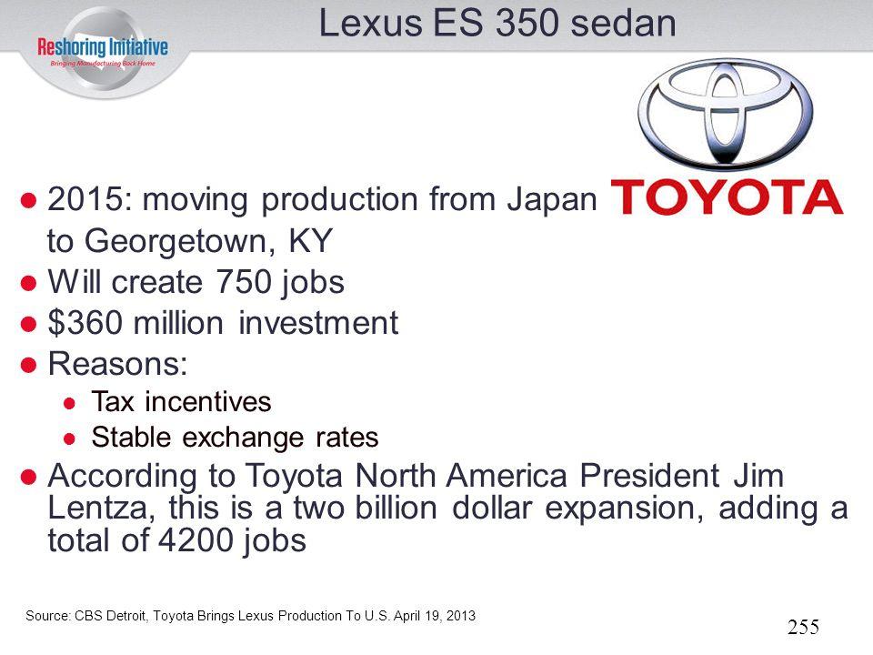 Lexus ES 350 sedan 2015: moving production from Japan
