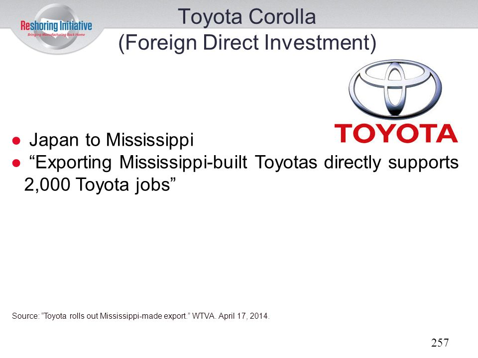Toyota Corolla (Foreign Direct Investment)