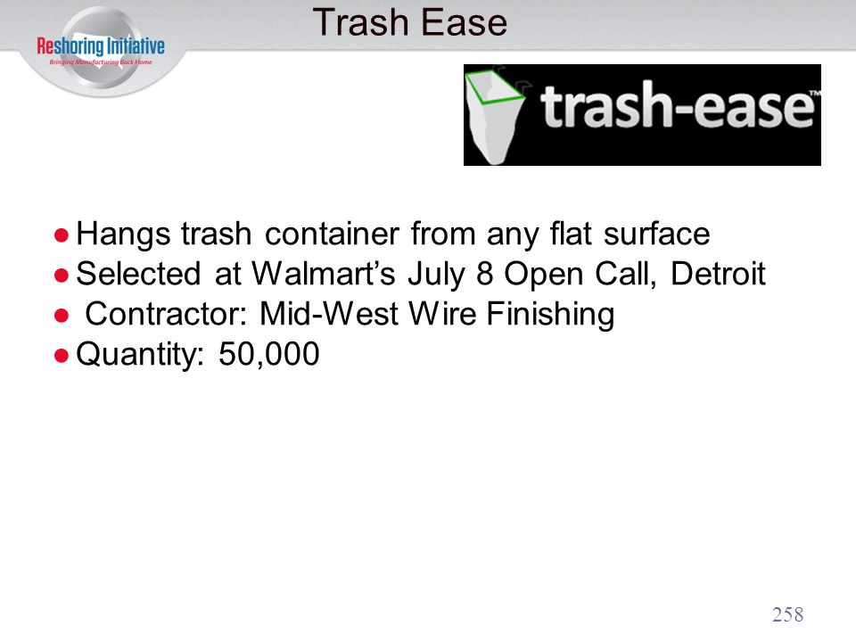 Trash Ease Hangs trash container from any flat surface