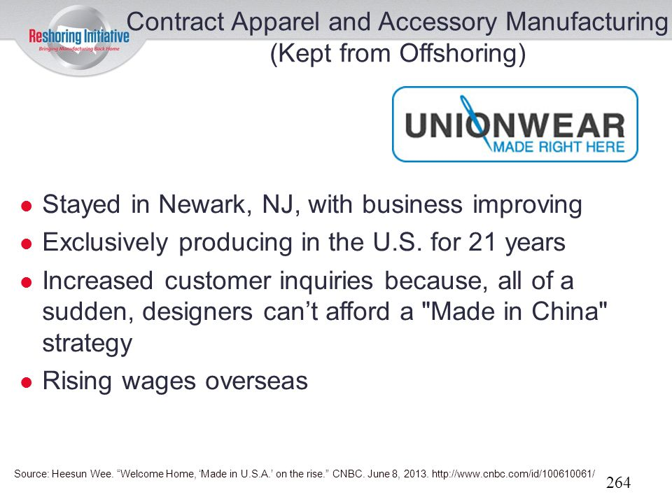 Contract Apparel and Accessory Manufacturing (Kept from Offshoring)