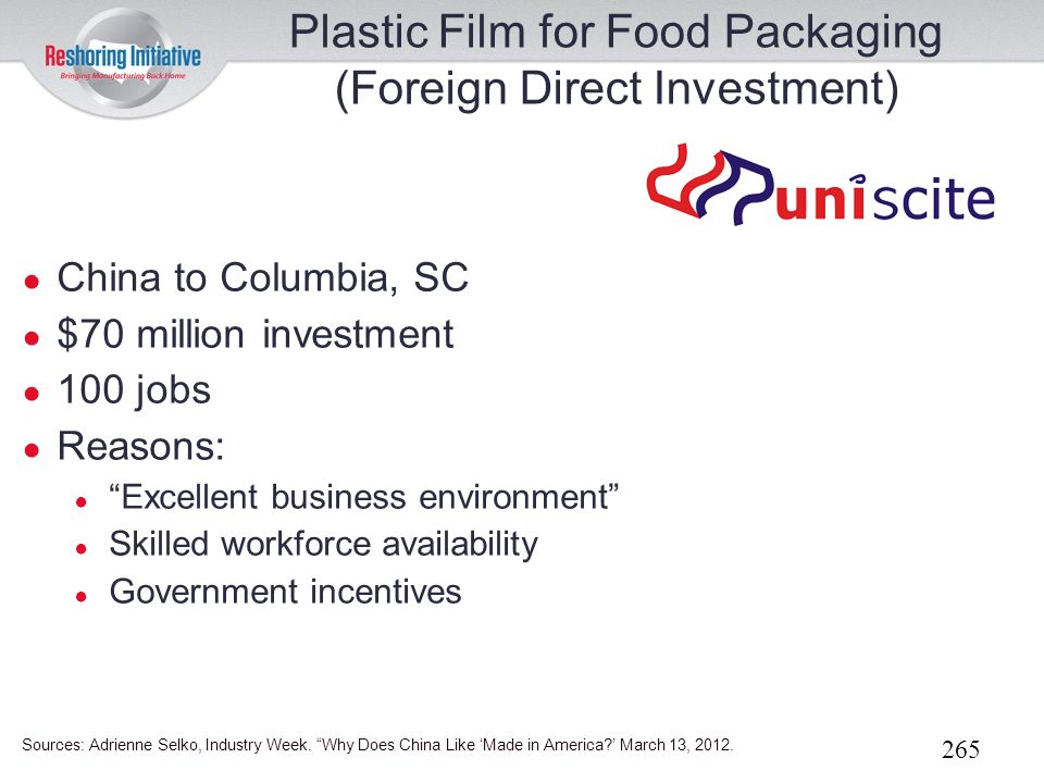 Plastic Film for Food Packaging (Foreign Direct Investment)