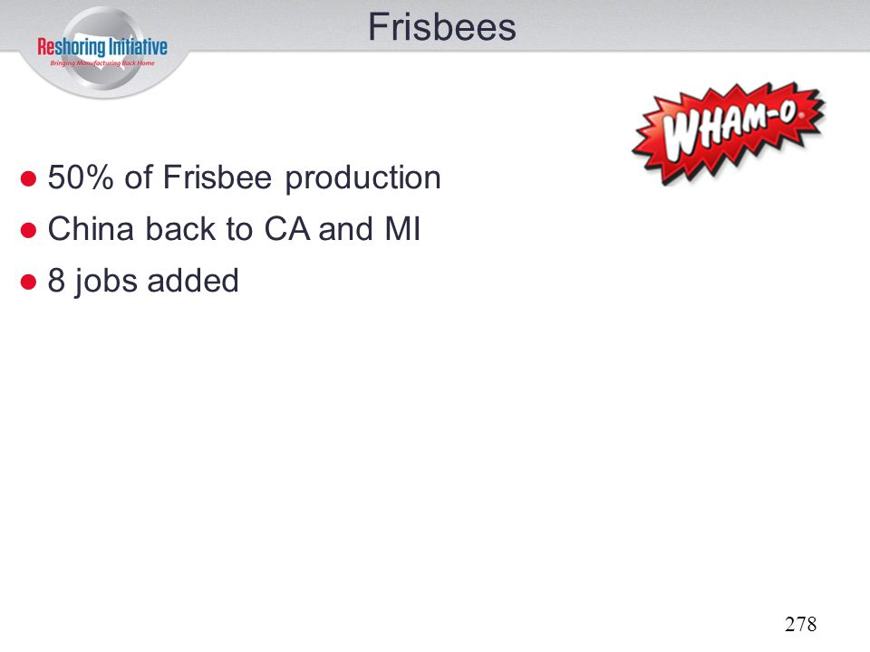 Frisbees 50% of Frisbee production China back to CA and MI