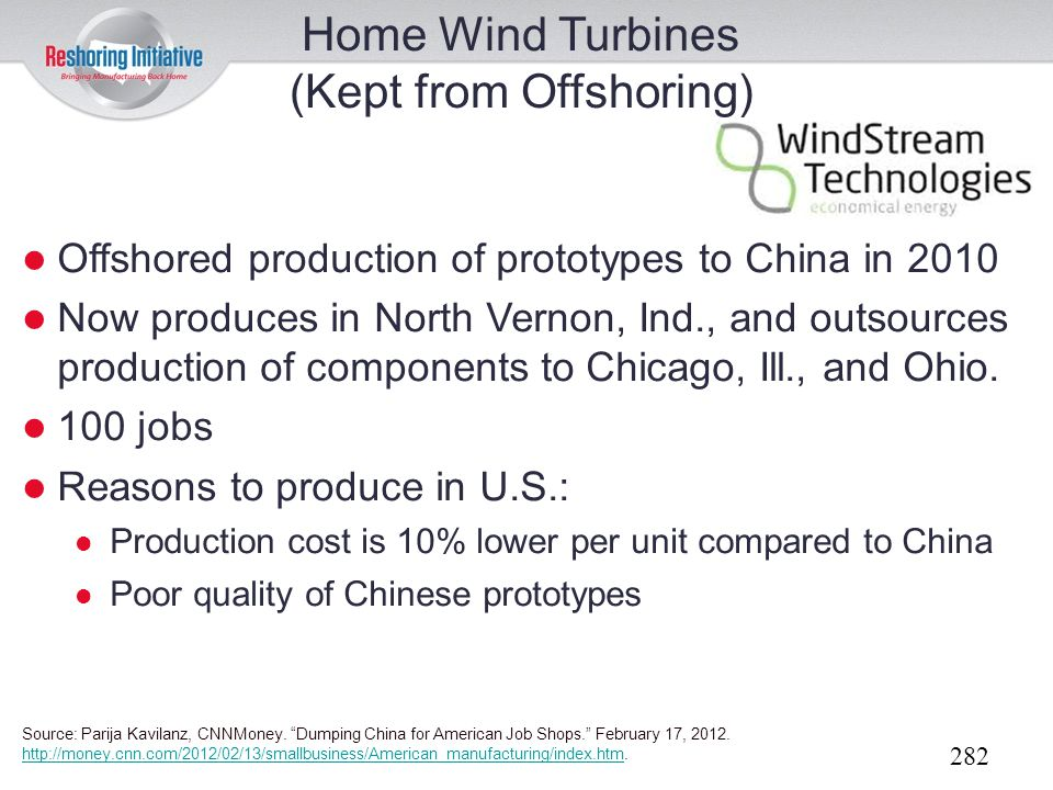 Home Wind Turbines (Kept from Offshoring)