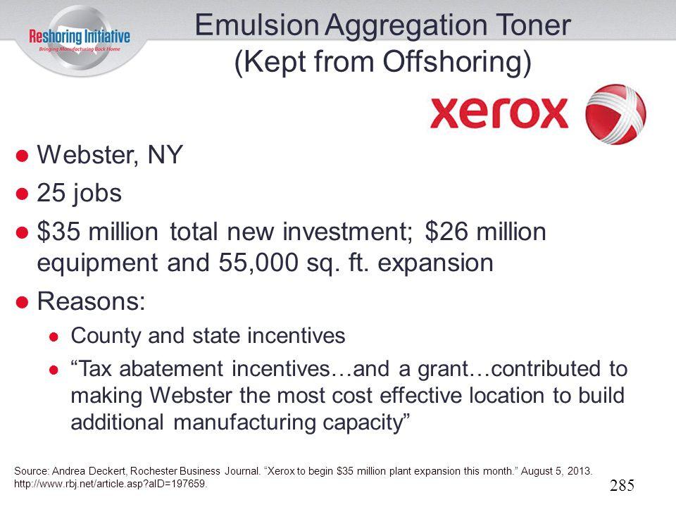 Emulsion Aggregation Toner (Kept from Offshoring)