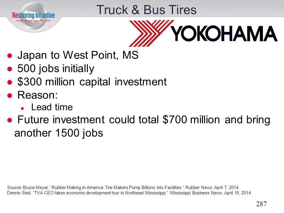 Truck & Bus Tires Japan to West Point, MS 500 jobs initially