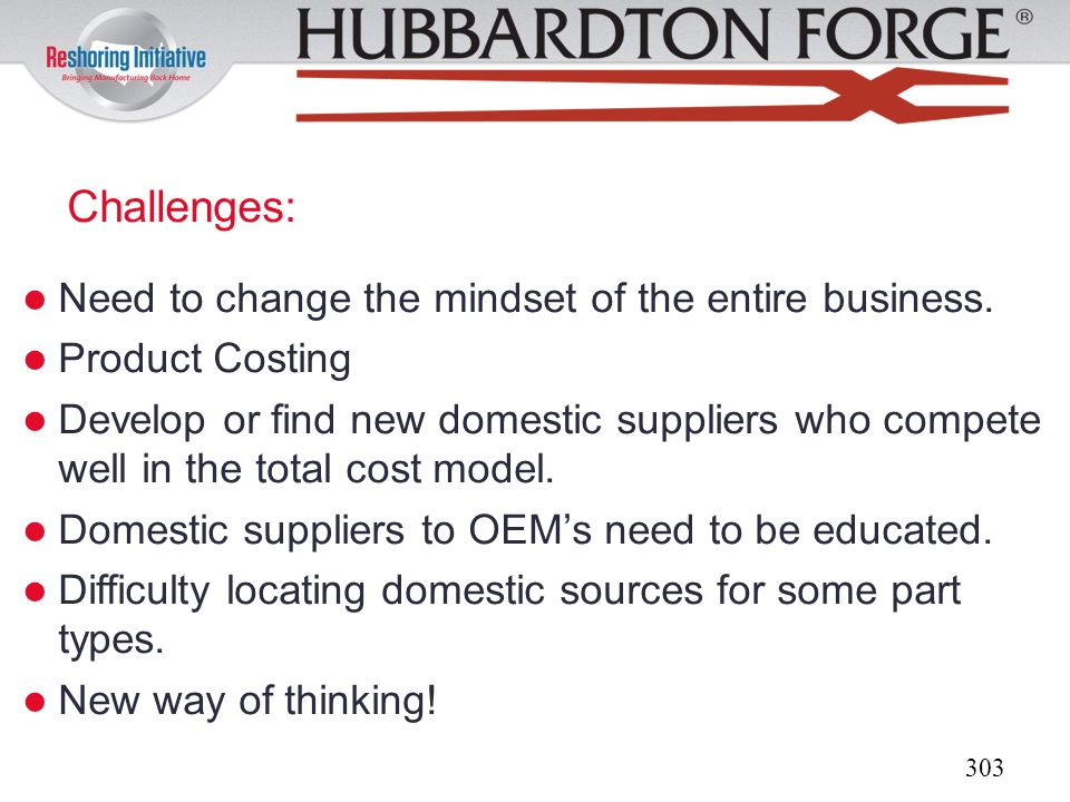 Challenges: Need to change the mindset of the entire business.