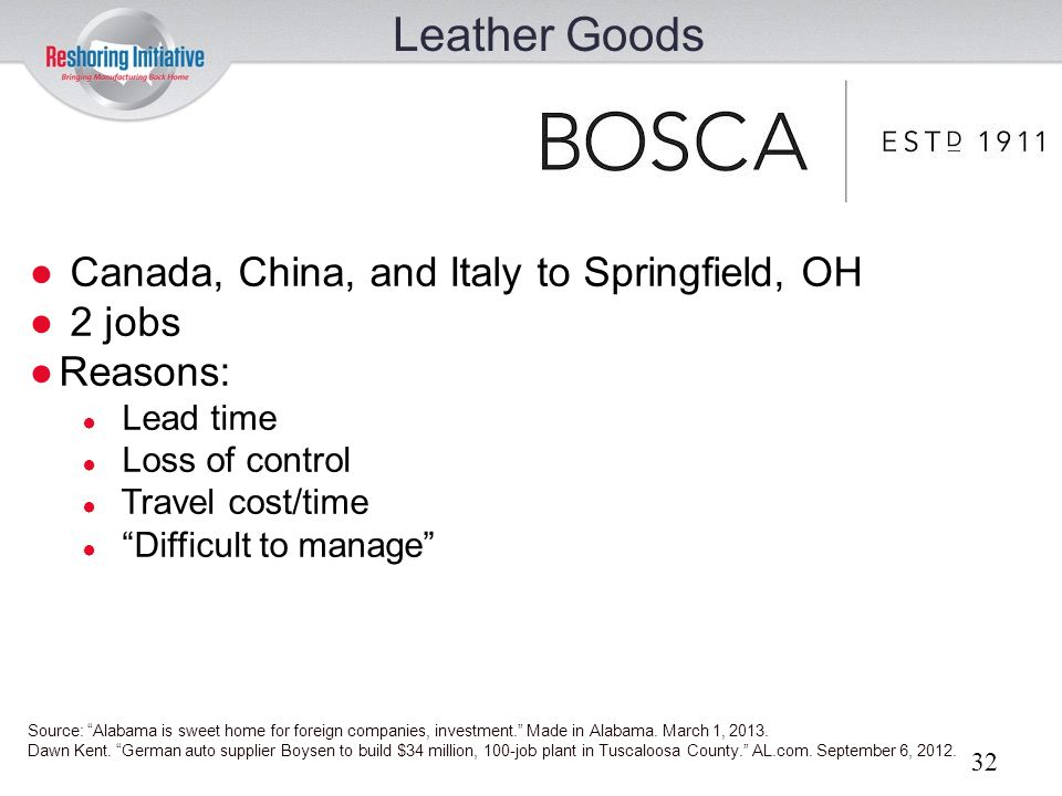Leather Goods Canada, China, and Italy to Springfield, OH 2 jobs