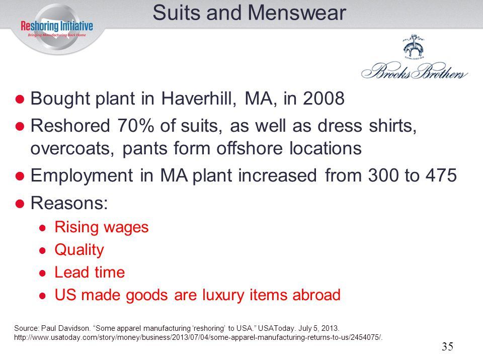Suits and Menswear Bought plant in Haverhill, MA, in 2008
