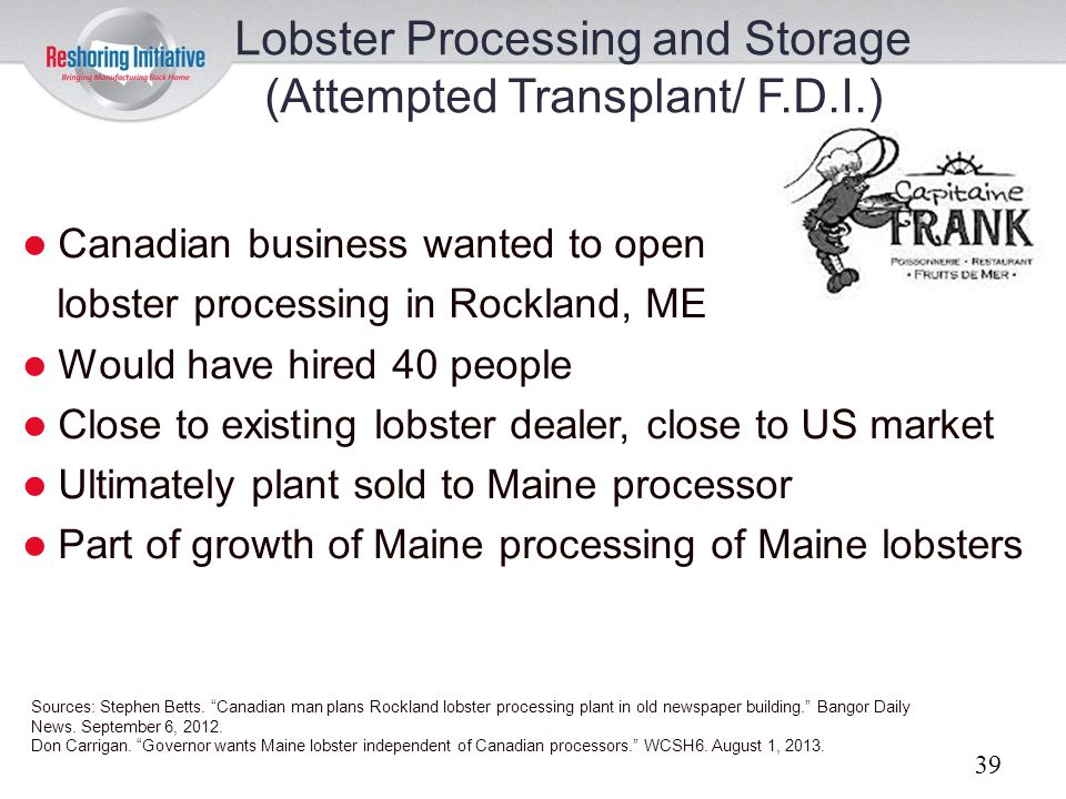 Lobster Processing and Storage (Attempted Transplant/ F.D.I.)