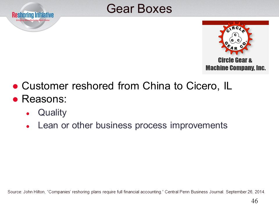 Gear Boxes Customer reshored from China to Cicero, IL Reasons: Quality
