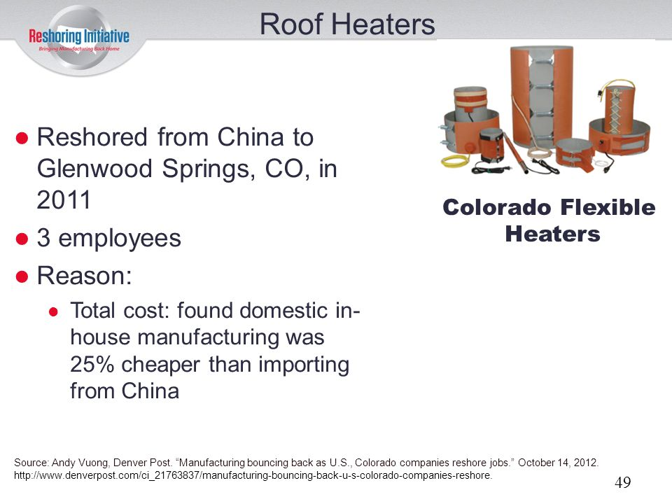Roof Heaters Reshored from China to Glenwood Springs, CO, in 2011