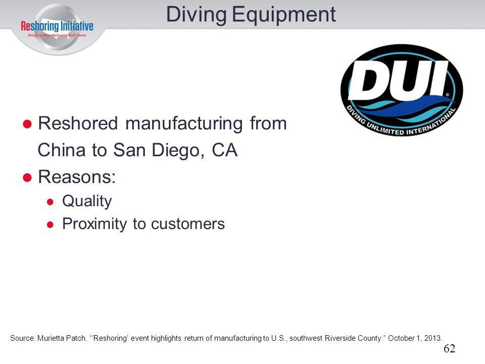Diving Equipment Reshored manufacturing from China to San Diego, CA