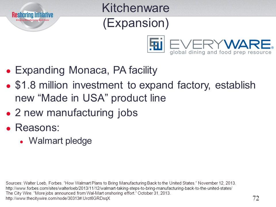 Kitchenware (Expansion) Expanding Monaca, PA facility