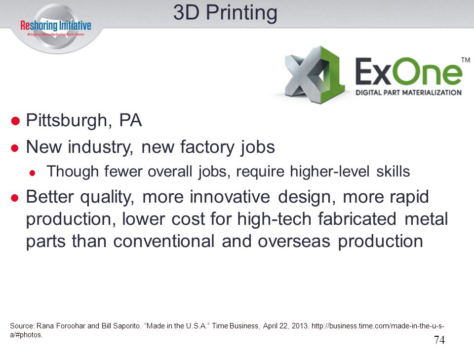 3D Printing Pittsburgh, PA New industry, new factory jobs