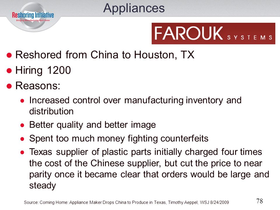 Appliances Reshored from China to Houston, TX Hiring 1200 Reasons: