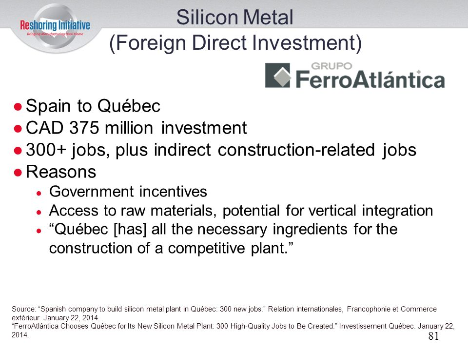 Silicon Metal (Foreign Direct Investment)