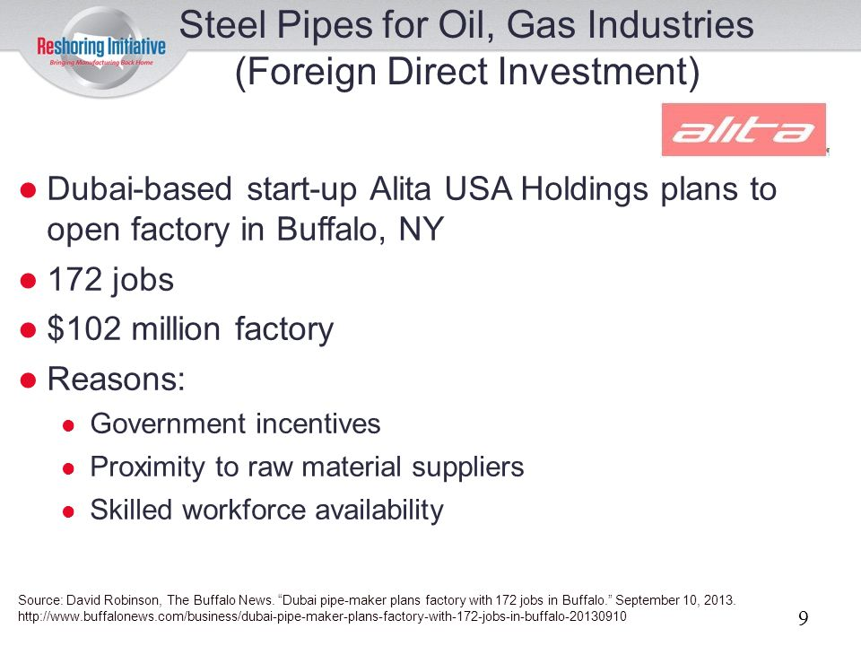 Steel Pipes for Oil, Gas Industries (Foreign Direct Investment)