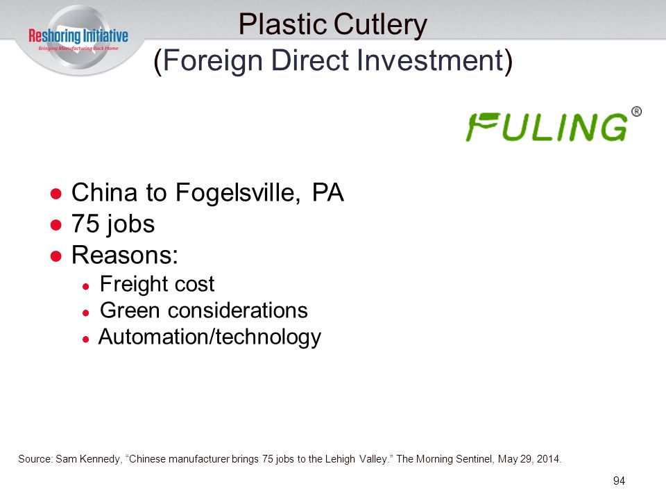 Plastic Cutlery (Foreign Direct Investment)