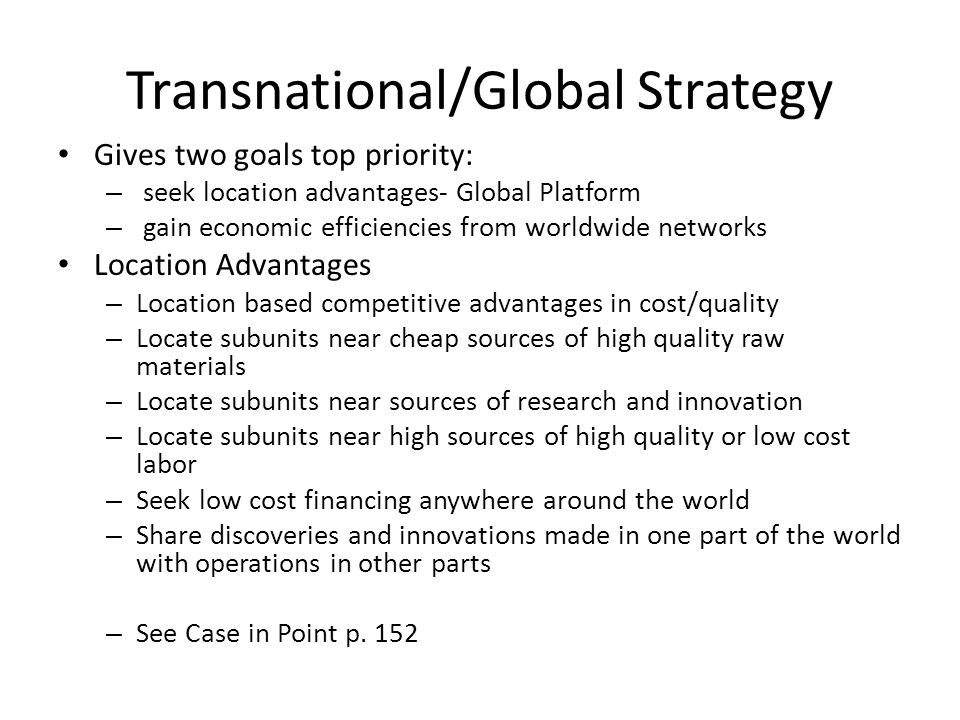 nike transnational strategy Facing pressure from investors and competitors like adidas, nike said  the  strategy might result in localized products and styles, tailored to.