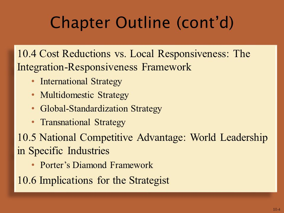 global integration national responsiveness Global integration) leveraging local managers knowledge of their markets 48 a a supranational 50 transnational d page 386) 54 ibeo 12 chapter 11 strategy in international business 49 a.