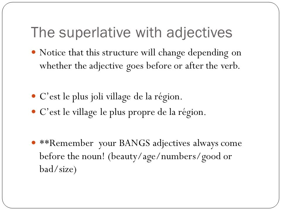The superlative with adjectives