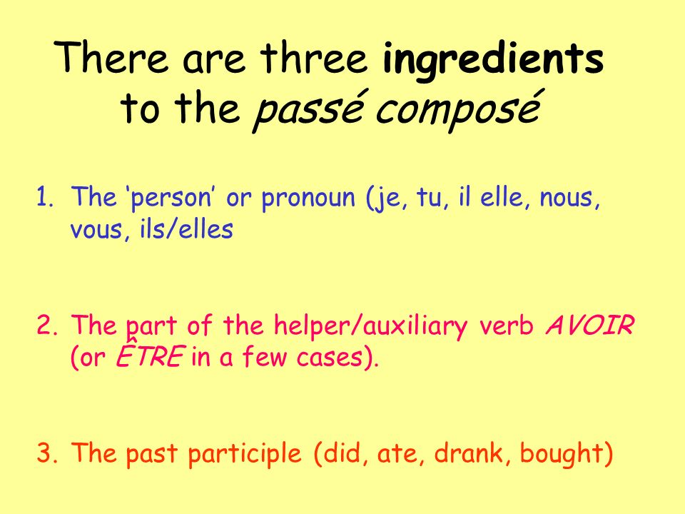 There are three ingredients to the passé composé