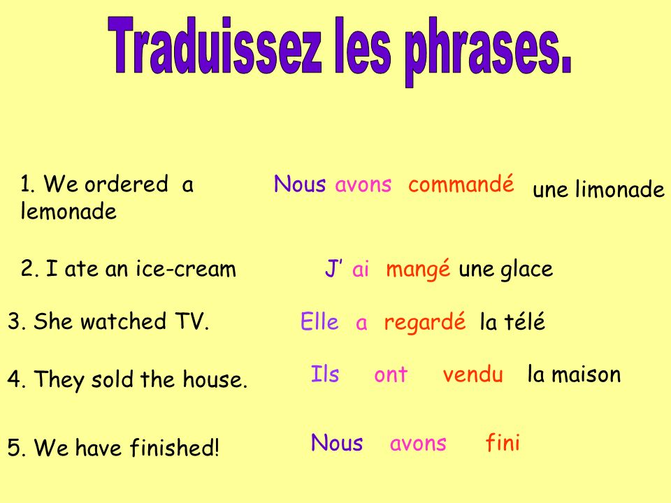 Traduissez les phrases.