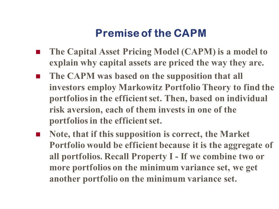 capm notes Unformatted text preview: fin 327 week 2 on capm mean variance approach to porolio selec1on capital asset pricing model (capm) lessons from exercise on risk-‐return calcula1ons expected returns and the variance-‐ covariance matrix notaaon • there are n risky securiaes each with an expected return, a variance, and correlaaons with all other risky securiaes.