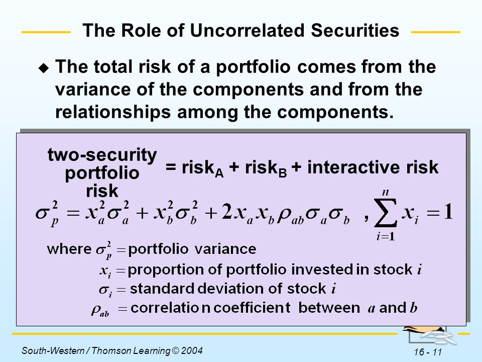 The Role of Uncorrelated Securities