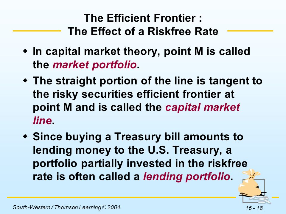 The Efficient Frontier : The Effect of a Riskfree Rate