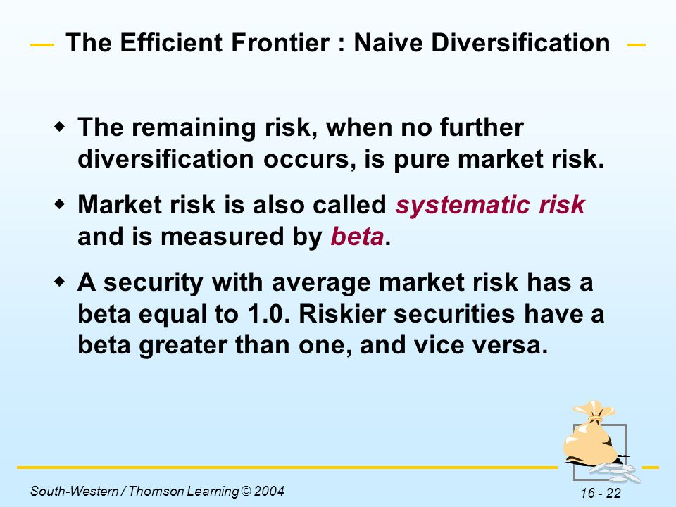 naïve diversification Naive diversification refers to the process of randomly selecting different assets for your portfolio without using any complex computation to decide which you choose.