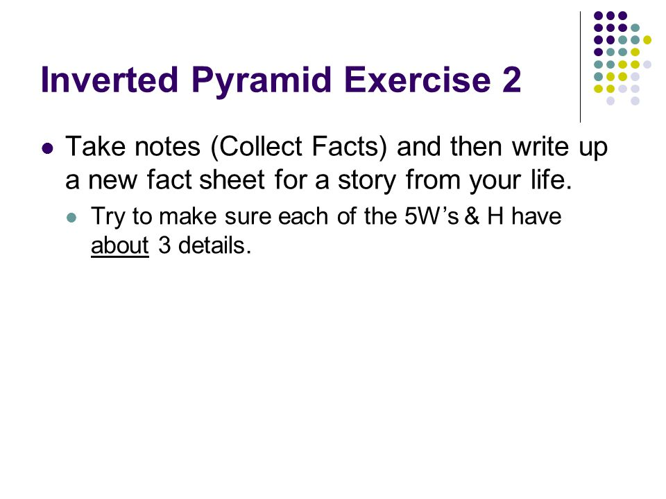 Inverted Pyramid Exercise 2