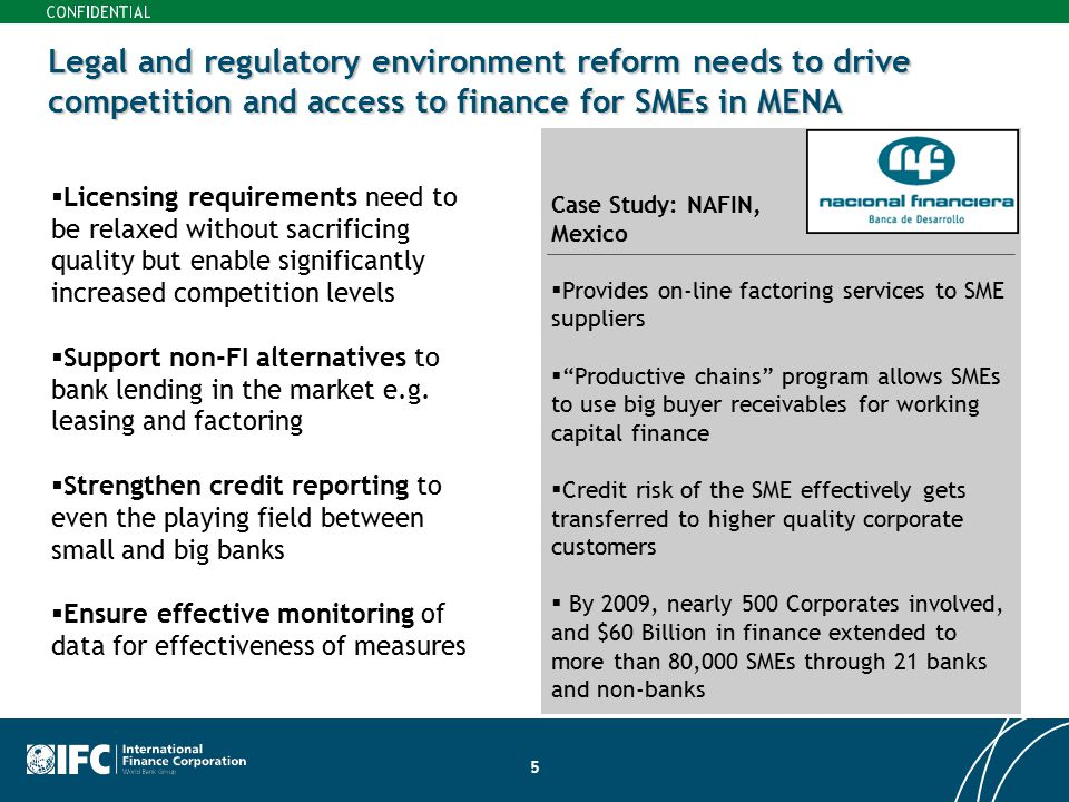 Legal and regulatory environment reform needs to drive competition and access to finance for SMEs in MENA