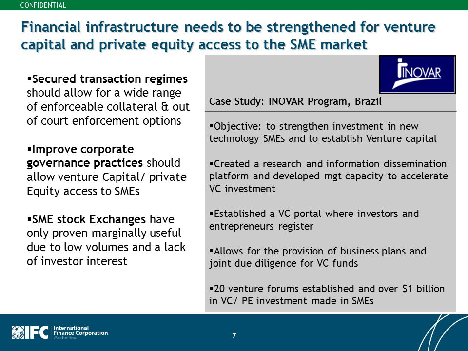 Financial infrastructure needs to be strengthened for venture capital and private equity access to the SME market