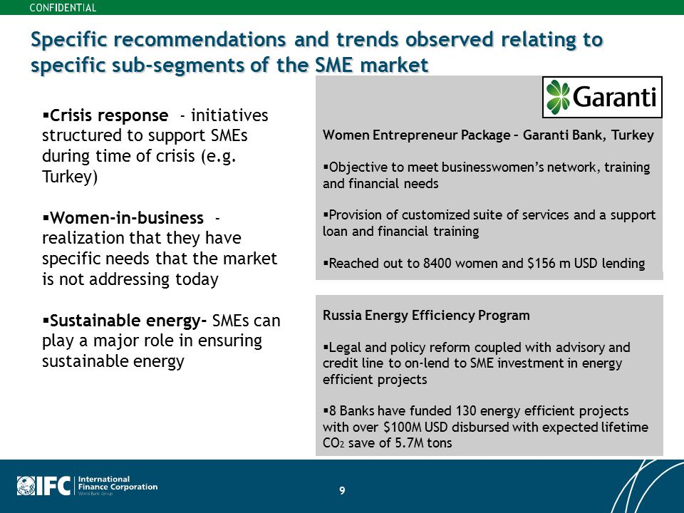Specific recommendations and trends observed relating to specific sub-segments of the SME market